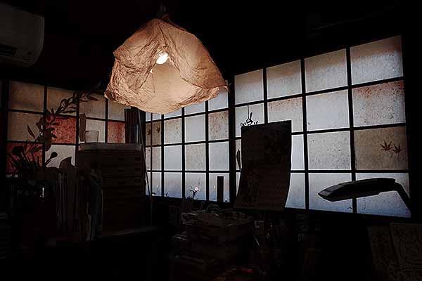 お店の照明シェードも秋月和紙でした。かわいい♡