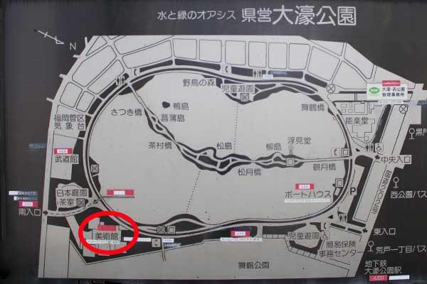 左下の赤丸が美術館