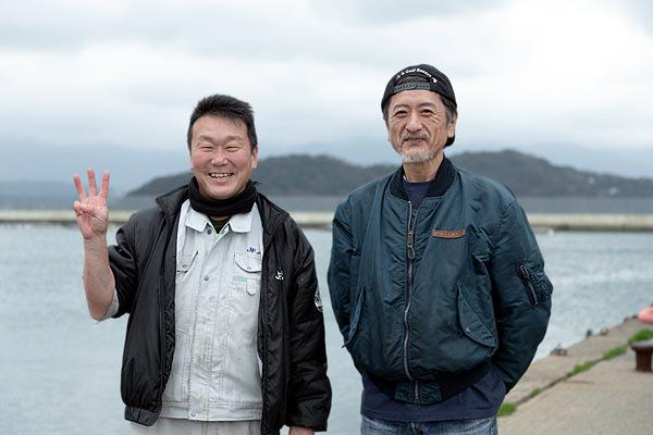 糸島漁協の鹿毛課長と元板前職人の福島さん